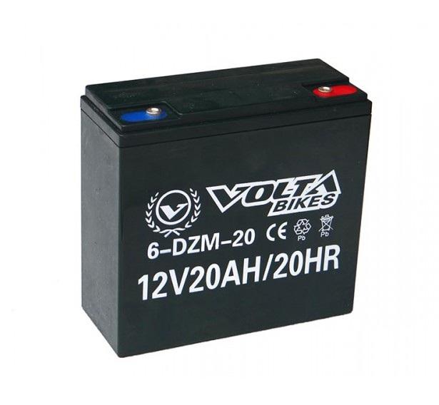 Велосипедный тяговый свинцово-кислотный аккумулятор VOLTA 6-DZM-20 AGM 12v 20Ah