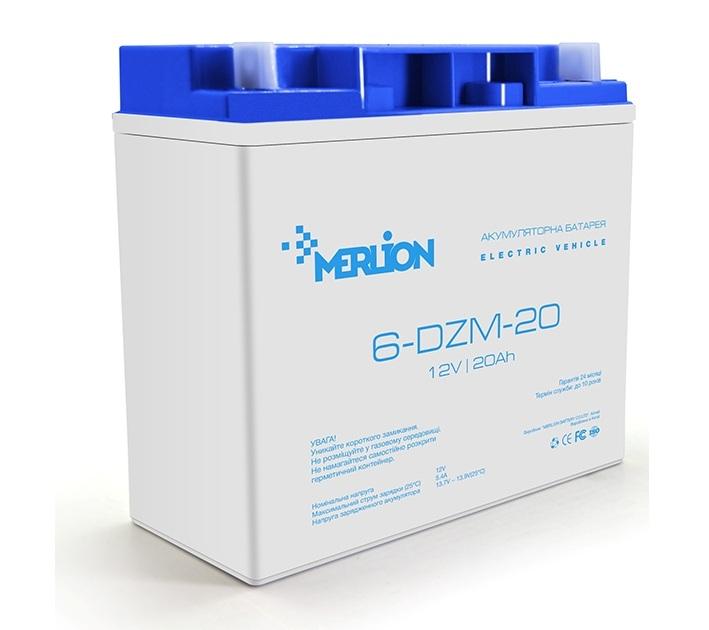 Купить Тяговый аккумулятор на электровелосипед MERLION 6-DZM-20 12V 20Ah