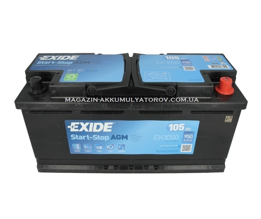 Купить EXIDE AGM Start-Stop EK1050 12v 105Ah 950A